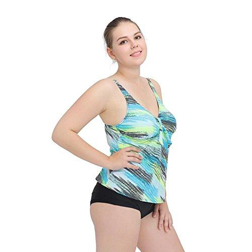 ZOYOL-YT Gran tamaño de dos piezas de traje de baño Añadir Fertilizante para aumentar la grasa Emocional Beach Swimwear Blue