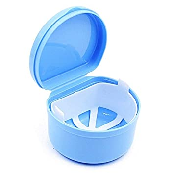 Mouthguard Retainer Case Orthodontic Plastic Denture Bath Storage Box with Rinsing Basket JADEER