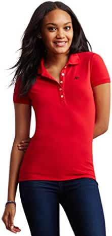 Aeropostale Women's A87 Pique Polo Shirt Blue