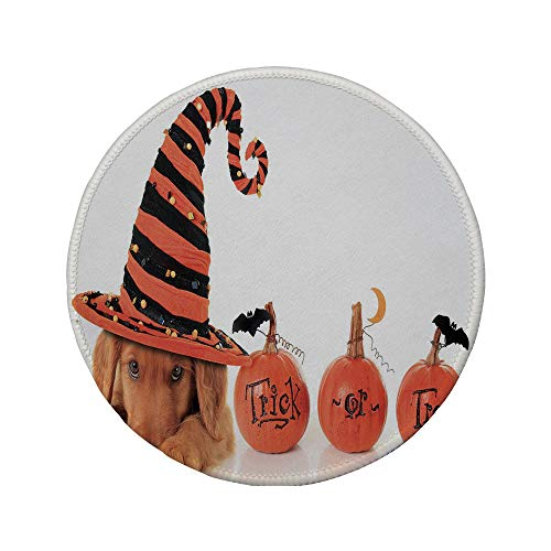 Non-Slip Rubber Round Mouse Pad,Halloween,Cute Puppy Wearing a Witch Hat Trick or Treat Little Bats Festive Funny,Orange Black Brown,11.8