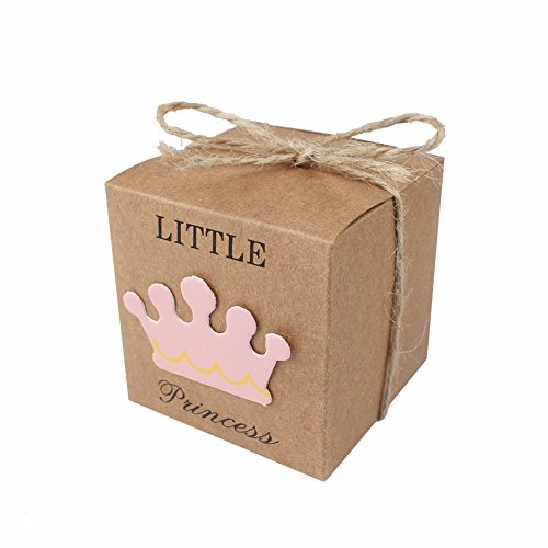 Bags Boxes Bows - iMagitek 50 Pcs Baby Shower Favor Boxes + 50 Pcs Twine Bow for Little Princess, Candy Box Gift Bag for Baby Shower, Baby Girls Birthday Party