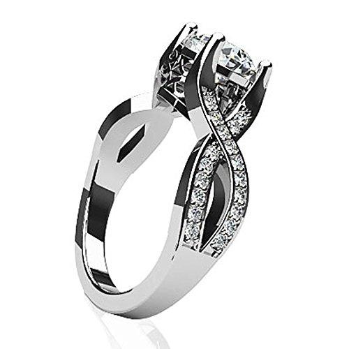 14K Or blanc vintage Brillant à diamant Bague de fiançailles