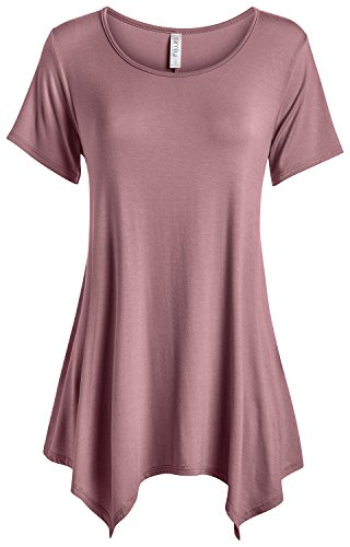 6de145f023a1b3 Galleon - Simlu Womens Basic Tunic Top Reg And Plus Size Short Sleeve Flowy  Loose T Shirt - USA Dark Mauve XXX-Large