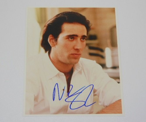 (Moonstruck Nicolas Cage Authentic Hand Signed Autographed 8x10 Glossy Photo Loa)