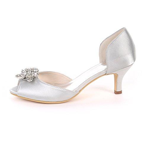 Medio Piedras Mujeres Talones Satén De Imitación De Ager UK10 Peep Y1195 Diamantes Deepblue 03K EU43 Toe Court Wedding Party Sandalias Shoes Bombas Flower t6q0wgg