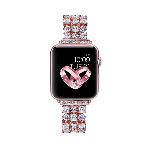 Solomo for Apple Watch Band 42mm, Luxury Diamond Jewelry Loop Stainless Steel Metal Quick Replacement Strap with Adjustable Buckle for Apple Watch Series 3 / Series 2 / Series 1 / iWatch Strap (Rose) by Solomo