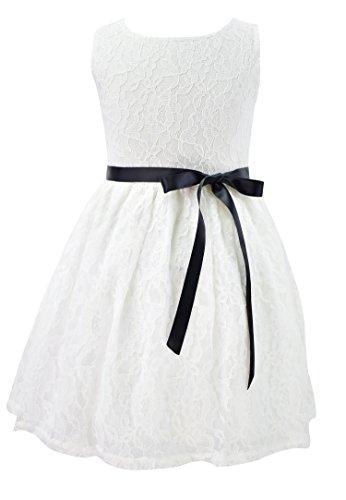 Garsumiss Ivory Flower Girl Dress Lace Princess Pageant Sleeveless Summer Casual Dress (3-4Y, (Little Mass Sundress)