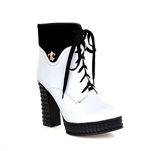 White Heels AmoonyFashionWomens Metalornament PU with Plush Round B 4 High 5 Toe M Closed Boots US Solid Short w77n4gqFx