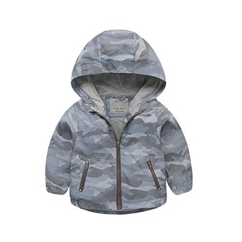 Right Euro Baby Boys Zipper Windbreaker Camouflage Polyester Hooded Jacket Outerwear Lightweight Overcoat Blue&Gray ()