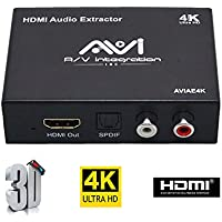 AVI ULTRA HD 4K HDMI To HDMI Audio (SPDIF + RCA Stereo) Audio Extractor Converter (Most TV boxes supported) (4K)