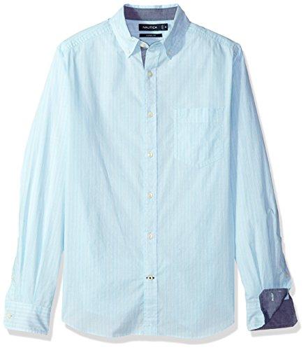 Stripe Mens Classic Shirt (Nautica Men's Classic Fit Stretch Vertical Stripe Button Down Shirt, Bali Bliss, X-Large)