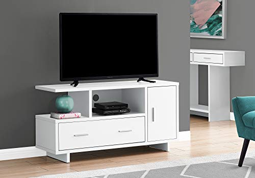 """Monarch Specialties I 2800 Tv Stand 48"""" L White with Storage"""