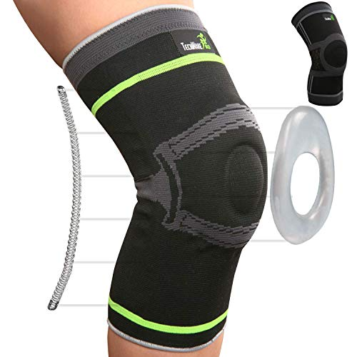 Tech Ware Pro Knee Compression Sleeve - Best Knee Brace with Side Stabilizers & Patella Gel Pads for Knee Support. Arthritis, Meniscus Tear, Joint Pain Relief & Sports Injury Recovery. Single Body Sport Patella Knee Support