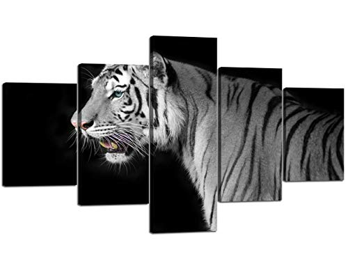Yatsen Bridge 5 Piece Canvas Wall Art Modern Home Decor Posters and Prints Pictures for Living Room HD Printed Black and White Tiger Animal Painting Framed Stretched Ready to Hang (60'' W x 32''H) by Yatsen Bridge