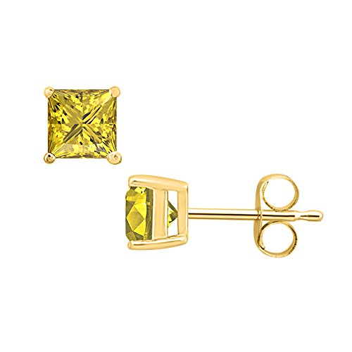 SVC-JEWELS (4MM) Princess Cut Yellow Sapphire Solitaire Stud Earrings 14K Yellow Gold Over .925 Sterling Silver For Women's & Girls