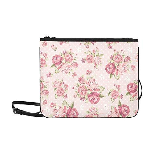 Clutch Fold Over Beaded (Color Rose Pattern On Pink Background Pattern Custom High-grade Nylon Slim Clutch Bag Cross-body Bag Shoulder Bag)