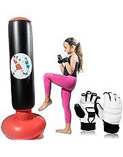 """Bolsa de boxeo inflable para niños, mujeres y hombres. Este equipo INCLUYE un par de guantes de entrenamiento de artes marciales en color blanco para practicar boxeo, karate, taekwondo o MMA. Mide 60"""" pulgadas de altura PERFECTO para ejercicios físico y liberar estrés."""
