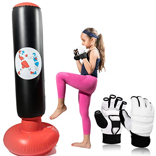 Inflatable Kids Punching Bag with Gloves, This Punching Bag for kids with Stand INCLUDE a Pair of White Martial Arts…