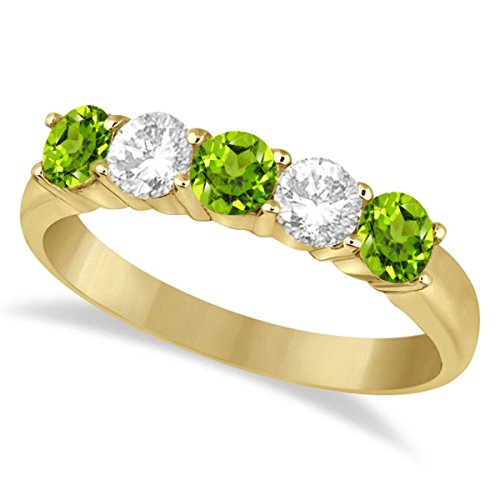 - Diamond and Peridot Five Stone Ring Anniversary Band For Women 14k Yellow Gold (1.36ctw)