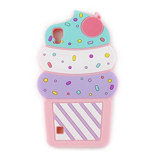UFOTSAM LG Tribute HD Case, LG X Style LS676 Case, 3D Cartoon Cute Cherry Cupcakes Ice Cream Shaped Soft Silicone Case Bumper Back Cover for LG Volt 3 / LG53B (5.0