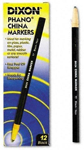6 Pack Dixon 00077 Phano Peel-Off China Marker - Black - 12 per Package