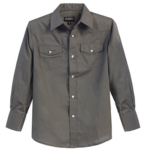 Gioberti Little Boys Casual Western Solid Long Sleeve Shirt with Pearl Snaps, Gray, Size - Pearl Grey Button