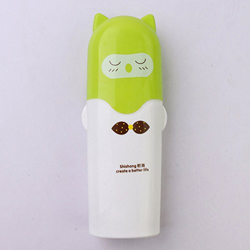 (Yanluzz1Pc Cute Towel Toothbrush Holder Suitcase Outdoor Travel Camping Toothpaste Multi-Cap Storage Box Household Bathroom Accessories Green)