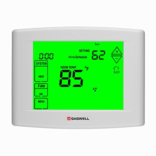 7 days Programmable Touch Screen Thermostat for Home, With Large Digital Display,Easy to Read, Dual powered,3 Heat 2 Cool,Saswell ()