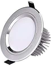 LED Recessed Downlight Round LED Recessed Ceiling Light Embedded Downlight 9W Warm/White Light Round Panel Lights Anti-Fog Highlight Ceiling Flat Spotlights for Hallway Stage Office(3200K/6000K 110-12