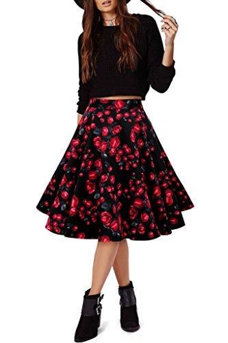 Eudolah Jupe midi style vintage  imprim des fleurs/uni swing annes 50 Femme Rose Fleur