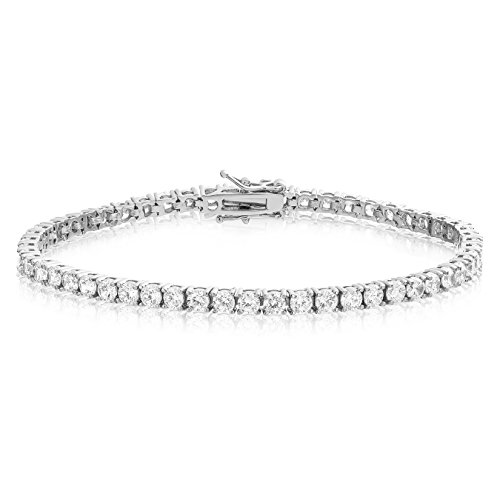 Simulated Diamond Tennis Bracelet Round Cut CZ 3mm Rhodium Plated Brass 6.5 inch