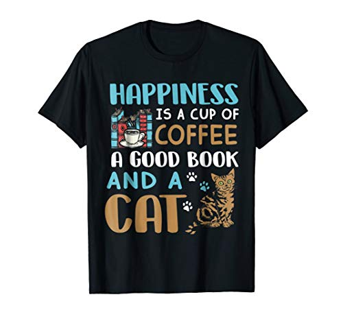 Coffee A Good Book And A Cat Halloween T-shirt]()