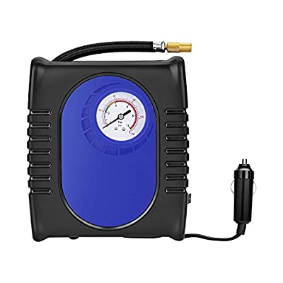 PortableTire Inflator, GRANDTAU Air Compressor 150 PSI 12V DC Auto Pump- 3 Nozzle Adaptors 2.5ft Air Hose, 9.8ft Cord with Cigarette Plug for Tires Balls and Inflatable Objects
