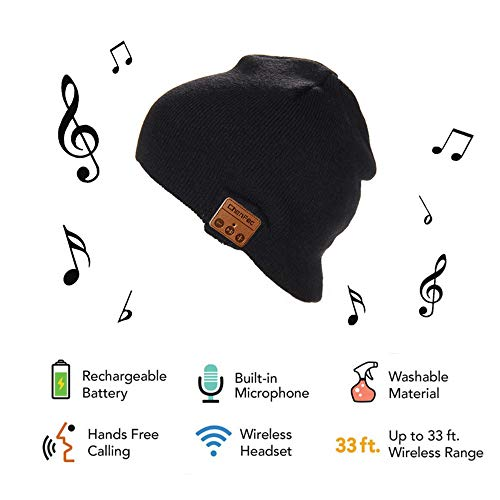 Charm sonic Wireless Bluetooth Beanie Hat, Soft Warm Beanie Hat Wireless Bluetooth Smart Cap Headset Headphone Speaker Mic Bluetooth Hat Unisex Christmas Tech Gifts for Men Women Teen Boys Girl -