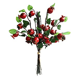 Htmeing Group of 4 Artificial Rosehip Berries Flower Stem Spray Christmas Picks 13″ (red)