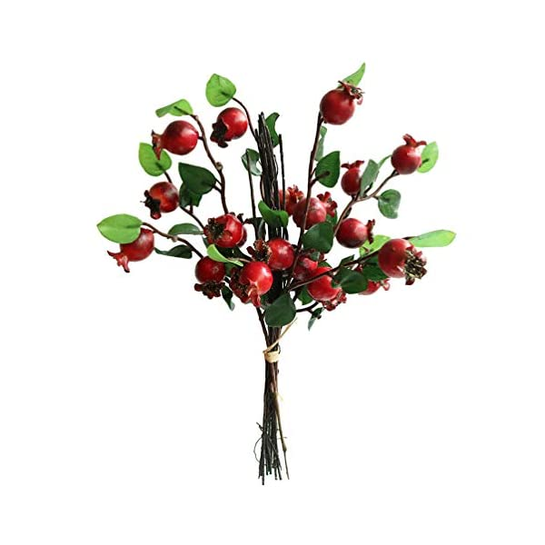 Htmeing Group of 5 Artificial Rosehip Berries Flower Stem Spray Christmas Picks 13″ (red)