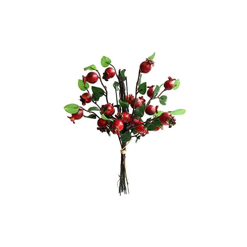 "silk flower arrangements htmeing group of 4 artificial rosehip berries flower stem spray christmas picks 13"" (red)"
