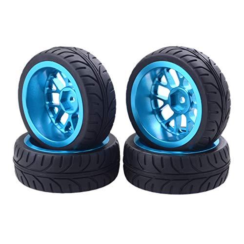 TANGON Drift On-Road Tires with Aluminium Alloy Wheel Rim for 1/10 HPI Redcat Racing Car (Blue)