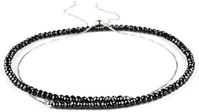 Collar de plata de ley 925 con piedras preciosas facetadas de color negro para regalo de Año Nuevo, cadena de 45 cm