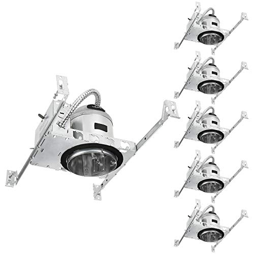 (TORCHSTAR 4 Inch New Construction Recessed Housing, IC Rated Air Tight Ceiling Downlight Can with Junction Box, E26 Screw Base, UL-listed, Aluminum, Pack of 6)