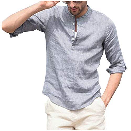 Men's Casual Tops Cotton Linen Solid Slim Long Sleeve Button Vintage T Shirts Blouses (M, ()
