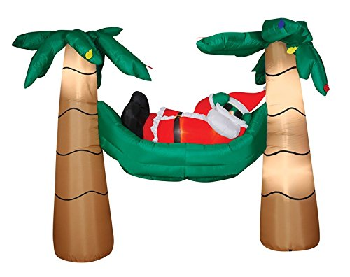 CHRISTMAS INFLATABLE 6' SANTA IN HAMMOCK OUTDOOR YARD DECORATION BY GEMMY by Gemmy