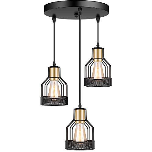 3-Light Industrial Pendant Lighting, Adjustable Vintage Hanging Ceiling Light Fixtures,Farmhouse Rustic Pendant Light…