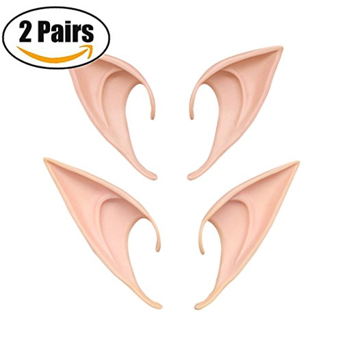Fairy Pixie Soft Elf Ears Cosplay Accessories Halloween Party Pointed Prosthetic Tips Ear 2 Different (Game Show Themed Costumes)
