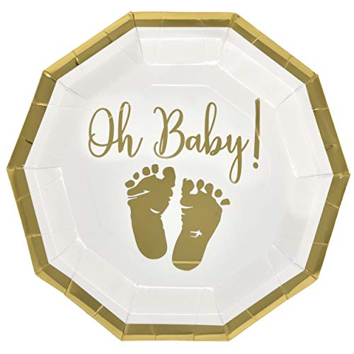 50 Baby Shower Plates 9 Inch Paper Disposable for Boys or Girls Gold Foil and White Oh Baby with Baby Footprints by Gift Boutique (Image #2)