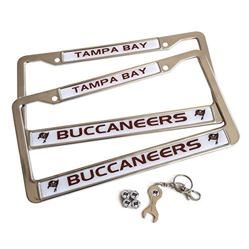 MT-Sports Football Team 2 Pcs Car Licenses Plate Stainless Steel Frames & 4 Pcs Tire Valve Stem Caps (Tampa Bay Buccaneers) ()