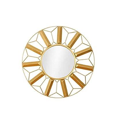 Makeup Mirror,Round Restaurant Decorative Mirror Stereo Wrought Iron Wall Hanging Mirror Fireplace Wall Decorative Mirror