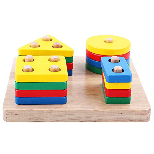 (Stack And Sort Board Geometric Sorting Board Stack and Sort Shape Color Wood Brain Teaser Puzzles for Kids of Age 3+ Year Old Toddler Birthday Gift Educational toys for Kid girls boys Children Baby)