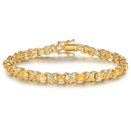 Barzel Gold, White Gold Plated or Rose Gold Plated Created-Gemstones Tennis Bracelet (Gold-Plated-Brass, Created Citrine)