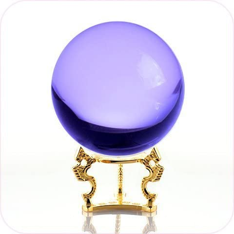 Amlong Crystal Purple Crystal Ball 5 inch 130mm Including Golden Dragon Stand and Gift Package